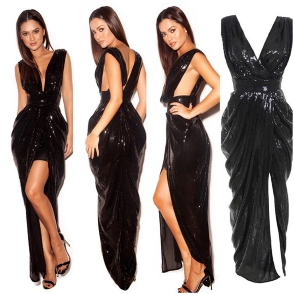 House of CB London Sequin Dress Small Black